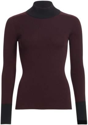 Akris Punto Bi-Color Stretch Wool Knit Mockneck Sweater