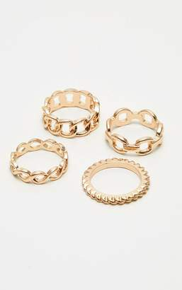 PrettyLittleThing Gold Chain Link Multi Ring Set