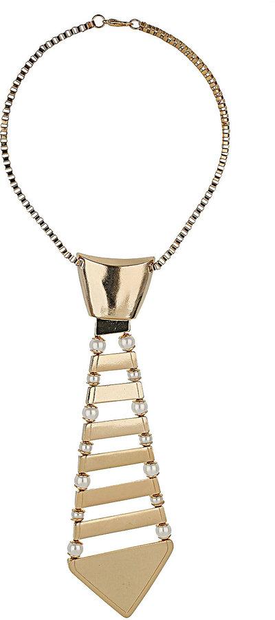 Topshop Metal Tie Necklace