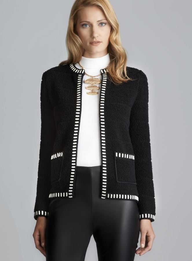 M Missoni Contrast Trim Textured Sweater Jacket