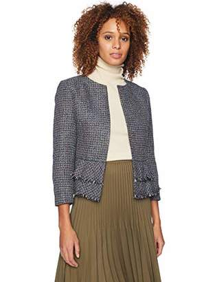 Nine West Women's Jewel Neck Tweed KISS FRNT JKT with Bottom Ruffle Detail