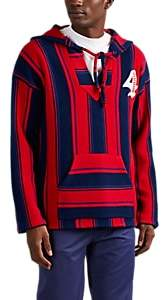 4HUNNID Men's Logo Striped Cashmere Baja Hoodie - Red