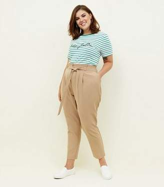 New Look Curves Camel Paperbag Waist Tapered Trousers
