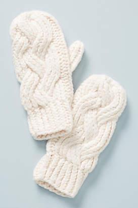 Lemon Cable-Knit Mittens