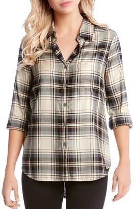 Karen Kane Plaid Button-Down Shirt