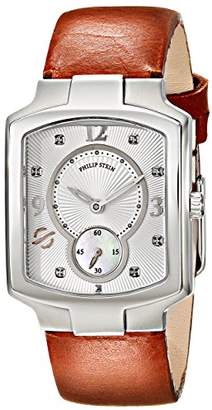 Philip Stein Teslar Women's 21-DSIL-CIBR Classic Stainless Steel Watch With Brown Leather Band
