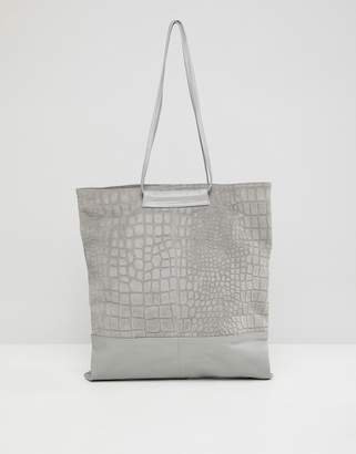 Asos Design DESIGN croc embossed suede and leather shopper bag