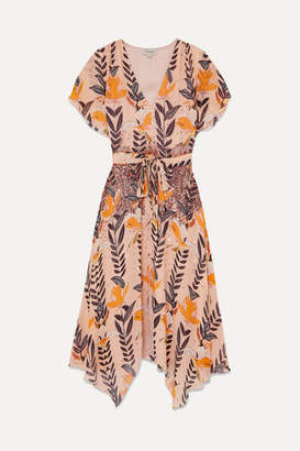 Temperley London Bellflower Sequin-embellished Floral-print Chiffon Midi Dress - Peach