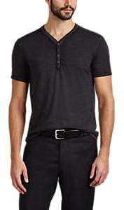 John Varvatos MEN'S SLUB COTTON-BLEND HENLEY
