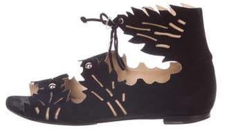 Charlotte Olympia Suede Cutout Flats