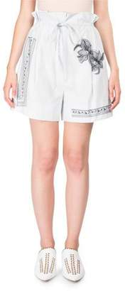 Acne Studios Maurice High-Waist Cotton Shorts w/Floral-Embroidery