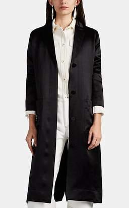 Nomia Women's Washed Satin Split Duster Coat - Black