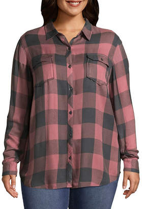Boutique + B+ 3/4 Sleeve Buffalo Plaid Shirting - Plus
