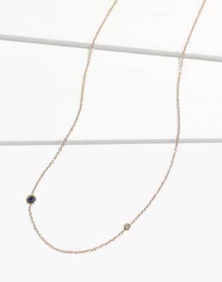 Madewell x Still House 14k Gold Iba Blue Sapphire and White Diamond Necklace