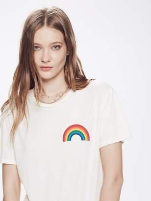 Aviator Nation Small Rainbow Crew Tee Shirt - Vintage White