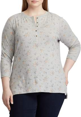 Chaps Plus Three-Quarter Sleeve Cotton Henley
