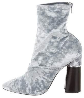 3.1 Phillip Lim Velvet Round-Toe Ankle Boots