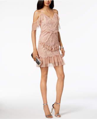 Bardot Pleated Lace Cold-Shoulder Dress