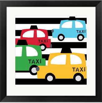 Metaverse Bright Multi Taxis By Linda Woods Framed Art