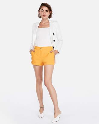 Express Mid Rise Cuffed Cotton-Blend Shortie