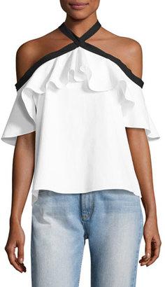 Alice + Olivia Alyssa Off-the-Shoulder Halter Top, White/Black $225 thestylecure.com