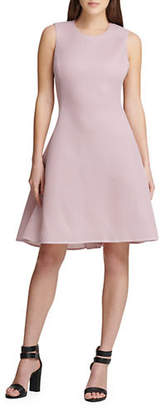 DKNY Mesh Seamed Fit-And-Flare Dress