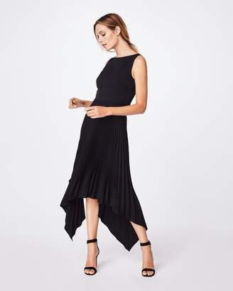 Nicole Miller Pleated Asymmetrical Dress