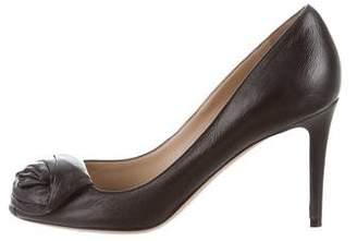 Valentino Peep-Toe Mid-Heel Pumps
