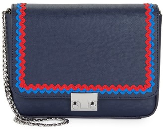 Loeffler Randall Lock Scalloped Trim Leather Crossbody Bag