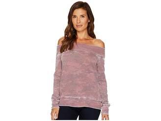 Allen Allen Camo Long Sleeve Off the Shoulder Women's Long Sleeve Pullover