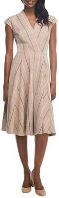 Gal Meets Glam Eva Windowpane Check Faux Wrap Dress