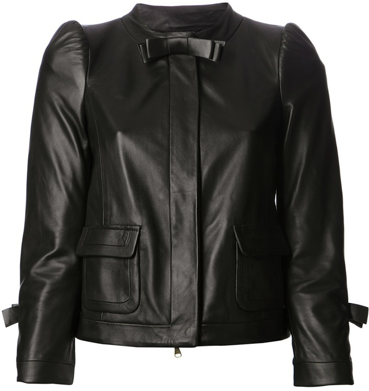 RED Valentino bow detail leather jacket