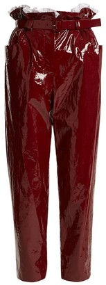 Isa Arfen Paperbag Waist Straight Leg Cropped Trousers - Womens - Dark Red