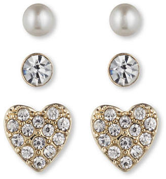 lonna & lilly Three-Pack Heart Button Earrings