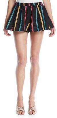 Caroline Constas Striped Pleated Pull-On Shorts