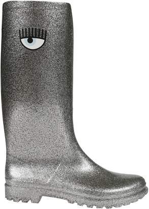 Chiara Ferragni Glittery Eye High Rain Boots