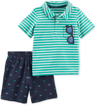 Carter's 2-Pc. Striped Cotton Polo & Printed Shorts Set, Baby Boys
