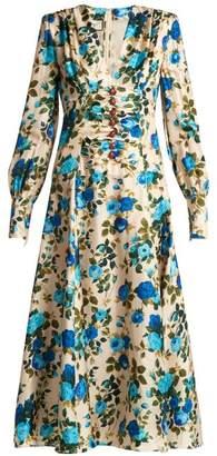Gucci Rose Print Silk Twill Midi Dress - Womens - White Multi