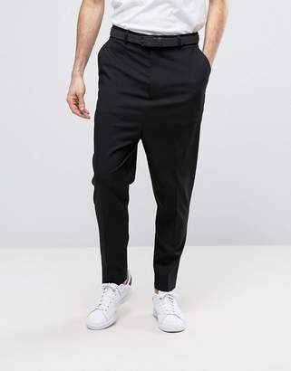 Asos Design DESIGN drop crotch pants in black
