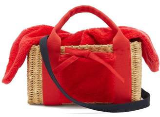 Muun Manon Shearling And Woven Straw Bag - Womens - Red