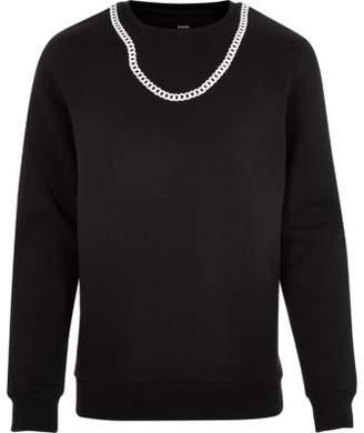 River Island Black Christopher Shannon chain sweatshirt