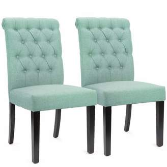 XtremepowerUS Sef of 2 Elegant Tufted Padded Victorian Dining Chair Set, Sea Mist