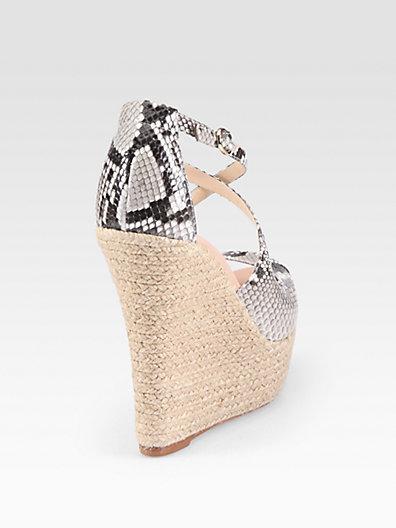 Alexandre Birman Python Espadrille Wedge Sandals