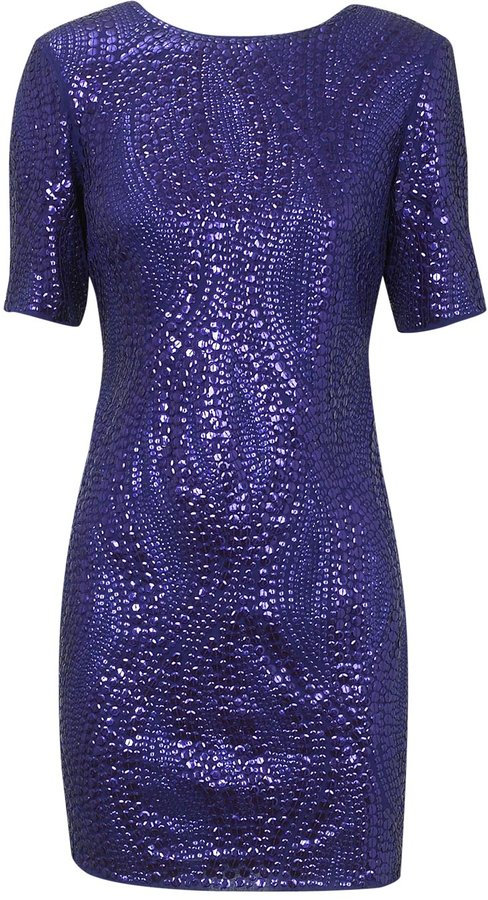 Sequin Shoulder Pad Dress