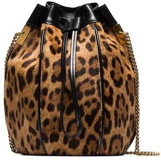 Saint Laurent brown and black Talitha leopard print bucket bag