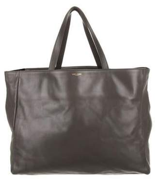 Saint Laurent Leather Shopper Tote Grey Leather Shopper Tote