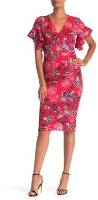 Rachel Roy Ruffle Sleeve Printed Midi Dress
