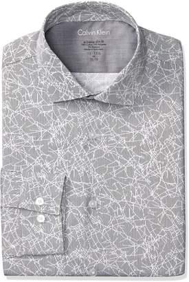 Calvin Klein Men's Dress Shirts Xtreme Slim Fit Non Iron Herringbone