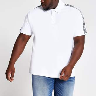 River Island Mens Big and Tall White check slim fit polo shirt