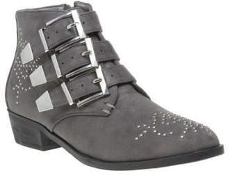 Josie New Womens SOLESISTER Grey Microfibre Boots Ankle Buckle Zip